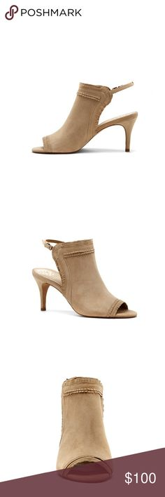 """Vince Camuto Prenda Fringe-Trimmed Suede Sandal Original box not included with purchase.    This feminine bootie cut with a peep rope and open heel is cute for any night out.    3"""" heel.   Suede upper material. Vince Camuto Shoes Heels"""