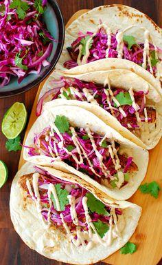 Wicked good fish tacos. Wicked good fish tacos, with Wicked good sauce. If you like fish tacos, you've got to try this! Get MaryJo's Original Recipe here. | joeshealthymeals.com