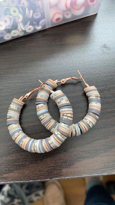 Beautiful Medium size hoops vinyl heishi beads Bead Jewelry, Diy Jewelry, Women Jewelry, Beaded Earrings, Crochet Earrings, Beaded Bracelets, Heather Wright, Ear Rings, Really Cool Stuff