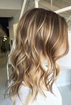 perfect light brunette shade with blonde balayage highlights – love this color!