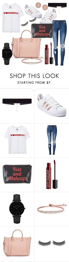 """Shopping Travel #1"" by lostmahomie ❤ liked on Polyvore featuring 8 Other Reasons, adidas, Zoe Karssen, WithChic, Lolo, NYX, CLUSE, CARAT* London, Battington and FOSSIL"