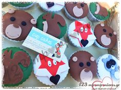 ΣΤΟΛΙΣΜΟΣ ΒΑΠΤΙΣΗΣ - ΖΩΑΚΙΑ WOODLAND - ΚΩΔ:WOOD-1235 Gingerbread Cookies, Sugar, Cake, Desserts, Food, Gingerbread Cupcakes, Tailgate Desserts, Deserts, Food Cakes
