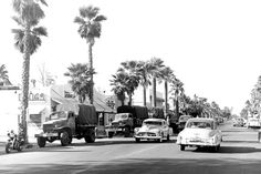 For almost a century, city pioneers, Hollywood celebrities, and the fun-loving people of Palm Springs made Palm Canyon Drive a boulevard of dreams Palm Springs Mid Century Modern, San Luis Obispo County, Cities, Mid Century Modern Design, Historical Photos, San Diego, Places To Go, Street View, Dreams