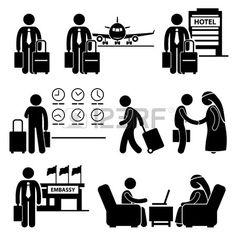 Business Trip Businessman Travel Meeting Stick Figure Pictogram Icon photo