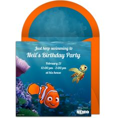 Online Finding Nemo Invitations have unique design options and convenient features. With electronic invitations, it's easy to start organizing your Finding Nemo party! Disney Invitations, Online Invitations, Birthday Party Invitations, Invitation Templates, Boys First Birthday Party Ideas, Birthday Party Themes, 2nd Birthday, Free Birthday, Disney Family