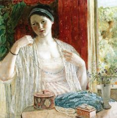 Frederick Carl Frieseke - Girl with Necklace