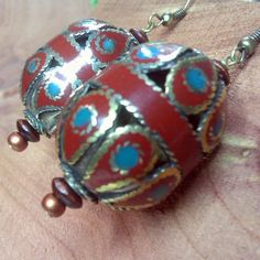 SALE Antique Afghan Turquoise & Carnelian Bead by FiberBungalow, $28.00