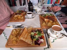 at Sue's vintage tearoom, at Southill, UK