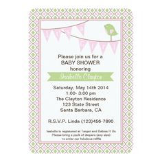 Baby Shower Invitation with Pink Bunting Banner