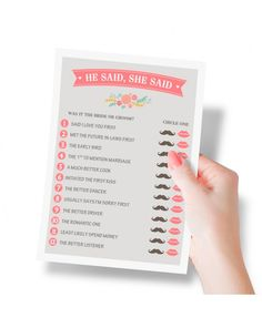 He Said She Said Bridal Shower Game - Gift idea for bridal shower - Add some excitement to your party with Printed Party's He Said She Said Bridal Shower Activity! The perfect gift for a bridal shower! - $11.99