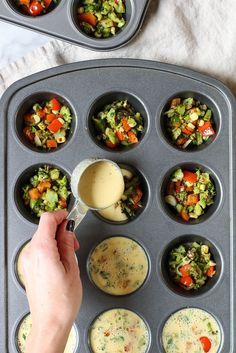 Vegan Chickpea Flour Mini Veggie Frittatas - the perfect vegan & gluten free make ahead breakfast for busy weekday mornings