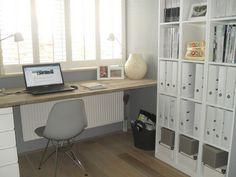 Office- Simple desk in front of window. Storage side wall