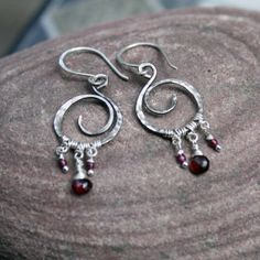 Boudica tiny - sterling silver with garnet drops - Honey&Ollie  (made in USA)