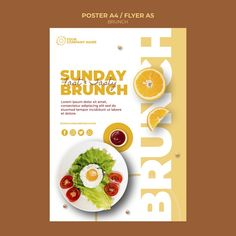 Poster template with brunch concept Free. Poster Design Layout, Food Poster Design, Creative Poster Design, Food Graphic Design, Food Menu Design, Brochure Food, Brochure Design, Food Advertising, Creative Advertising