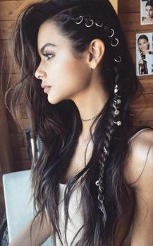 Side braids and hair rings by Brittany S. - Side braids and hair rings by Brittany Sullivan - Side Braid Hairstyles, Bohemian Hairstyles, Pretty Hairstyles, Edgy Hairstyles, Hairstyles 2018, Hair Updo, Popular Hairstyles, Bohemian Hair Braid, Hairstyle Ideas