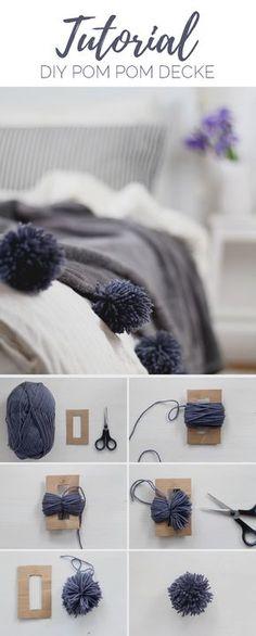 c7843f5cf6614 DIY  Decke mit Pompons selber machen