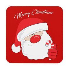 Santa Face - white text. Coaster - merry christmas diy xmas present gift idea family holidays