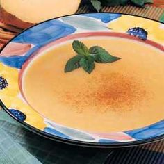 Chilled Cantaloupe Soup Recipe -A friend in New York shared the recipe for this chilled melon soup that's pleasantly spiced with cinnamon. Most people are skeptical when I describe it, but after one spoonful, they're hooked. It's easy to prepare, pretty to serve and so refreshing. -Margaret McNeil, Memphis, Tennessee