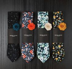 Cravatte e spilla-fiori all'occhiello già abbinati / Great florals with lapel pins More