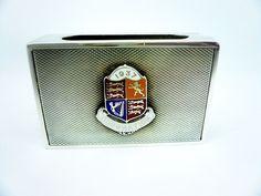 Solid Silver Enamel Matchbox Holder, Sterling, 1937 Coronation, Hallmarked Vesta