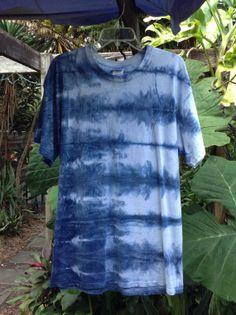 Mens Large Indigo blue Shibori Landscape tie Dye by ArtAttackDiner, $15.00