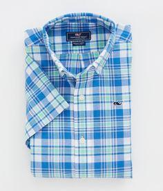 Boys' Sport Shirts: Boys Short Sleeve Dockyard Plaid Whale Shirt - Vineyard Vines
