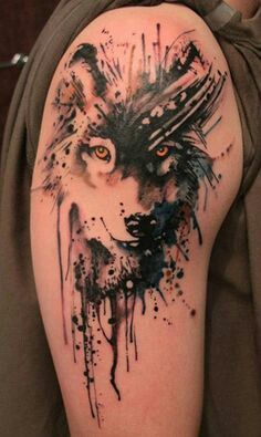 Wolf face trash polka. Not interested in wolf portrait, but love streaks/drips look.