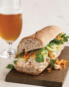 Thanksgiving Leftover Ideas: Turkey Banh Mi Sandwich (baguette, turkey, mayo, asian chili sauce, cucumber, carrot & cilantro)