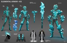 Concept art for an ice-themed costume set from CITY OF HEROES. Creature Concept Art, Robot Concept Art, Armor Concept, Creature Design, Fantasy Character Design, Character Design Inspiration, Character Concept, Character Art, Ice Armor