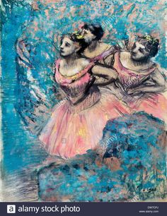 Edgar Degas, Three Dancers in Red Costume 1896 Pastel on paper. Ohara Stock Photo, Royalty Free Image: 67161210 - Alamy
