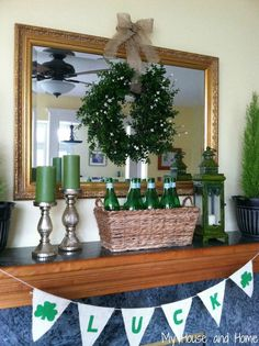 St. Patrick's Day mantel | St. Patrick's Day Mantel from My House and Home