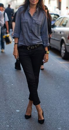 Emmanuelle Alt: denim shirt, black pants and heels