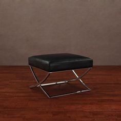Milano Black Leather Ottoman | Overstock.com Shopping - Great Deals on Ottomans