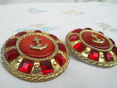 Vintage Red & Gold Anchor Earrings by vintapod on Etsy, $7.25