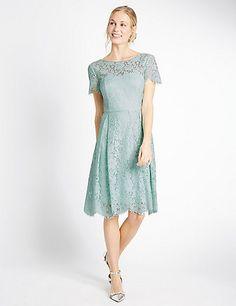Short Sleeved Lace Skater Dress | M&S