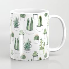 Mug featuring Watercolour Cacti And Succulent by Vicky Webb