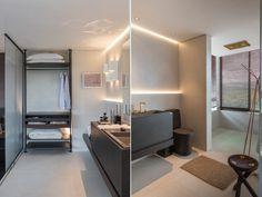 Banheiro do Apartamento 22 ambiente de Angélica Araújo para a Casa Cor Minas | vidros como divisória, home system, bancada revestida com Dekton, louças e metais Deca