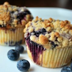 Streusel Topped Blueberry Muffins Recipe Breakfast and Brunch, Breads with white sugar, brown sugar, flour, melted butter, fresh blueberries, sugar, water, all-purpose flour, baking powder, salt, large eggs, unsalted butter, vegetable oil, buttermilk, vanilla, sugar, grated lemon zest