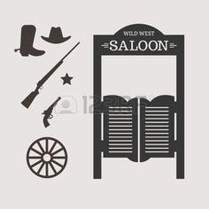 saloon western: Icônes occidentales. Silhouette de porte Saloon. Vector illustration Illustration