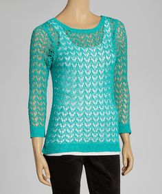 Take a look at this Teal Crocheted Sweater by eci New York on #zulily today!