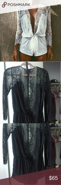 deep v neck eyelash lace romper Cinched waist, ties in front. Perfect for festival season. Only worn once. Size medium. Not from listed brand. Bundle to save! LF Other