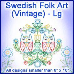 A Swedish Folk Art (Vintage) Design Pack - Lg design (X11731) from www.Emblibrary.com