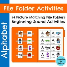 26 alphabet file folder activities to practice letter identification and beginning sounds. This resource is a picture to picture matching task. Use these for independent work tasks, group lessons, and 1:1 instruction. While these were created for a special education class, the multiple levels and repetition make them ideal for pre-k, kindergarten and ELLs.