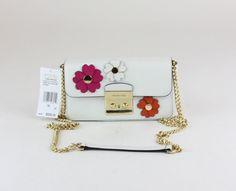 Michael Kors Optic White Flora Applique Leather Wallet on a Chain Crossbody Bag Chain Crossbody Bag, Michael Kors Crossbody Bag, Bags For Sale Online, Shoulder Purse, Leather Wallet, Thrifting, Flora, Applique, Purses