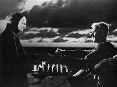 """""""The Seventh Seal"""" (Swedish: Det sjunde inseglet) is a 1957 Swedish film written and directed by Ingmar Bergman. Set in Sweden during the Black Death, it tells of the journey of a medieval knight (Max von Sydow) and a game of chess he plays with Death (Bengt Ekerot), who has come to take his life."""