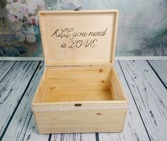 Wooden wedding cards keepsake memory box rustic woodland natural cotton lace shabby chic custom trunk storage wedding box - pinned by pin4etsy.com