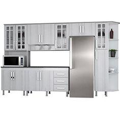 Cozinha Completa Indekes Lia 6 Peças Branca/Griz/Griz