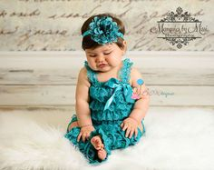 baby 3pcs Petti Lace Romper Peacock Teal Romper by HappyBOWtique, $44.99