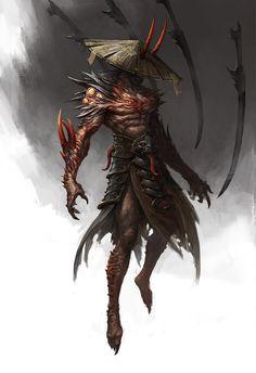 Beautiful Science Fiction, Fantasy and Horror art from all over the world. Dark Fantasy Art, Fantasy Artwork, Fantasy Character Design, Character Design Inspiration, Character Art, Fantasy Monster, Monster Art, Arte Ninja, Samurai Artwork