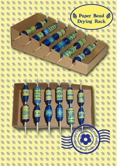 Bead Printables: A Masterclass Free template for a Paper Bead Drying Rack (and the beads, and gift packaging, too!Free template for a Paper Bead Drying Rack (and the beads, and gift packaging, too! Paper Beads Tutorial, Paper Beads Template, Make Paper Beads, Paper Bead Jewelry, Paper Earrings, How To Make Beads, Beaded Jewelry, Beaded Bracelets, Jewellery